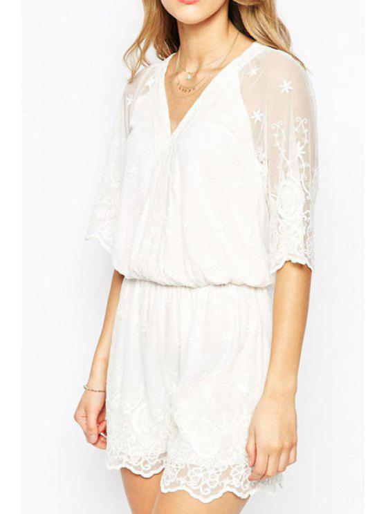 affordable See-Through Floral Pattern Lace Half Sleeve Romper - WHITE ONE SIZE(FIT SIZE XS TO M)