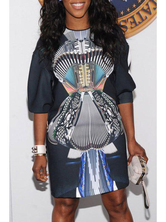 sale Color Block Abstract Print Half Sleeve Dress - AS THE PICTURE M