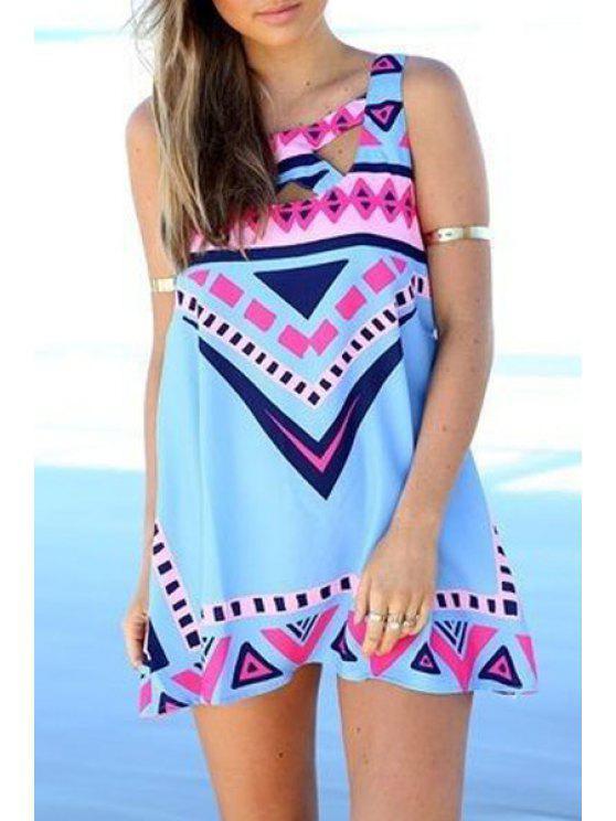 shops Geometric Print Sleeveless Dress - WATER BLUE S