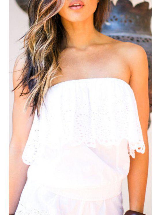 affordable Layered Openwork White Crop Top - WHITE S