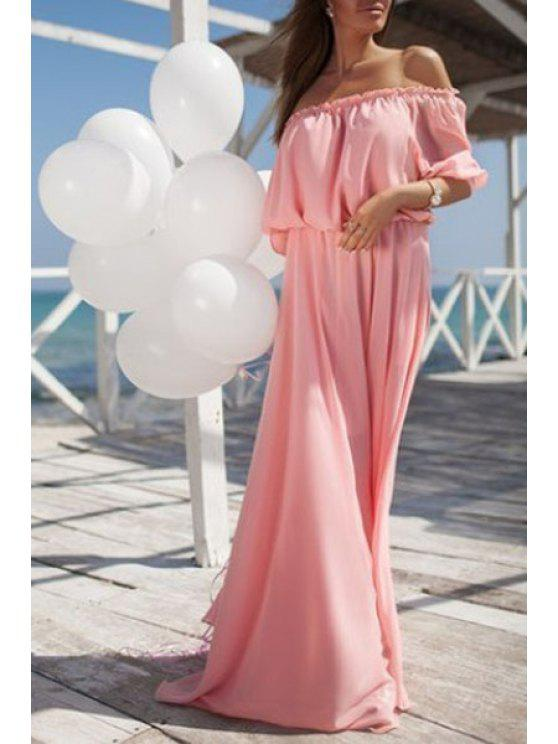 trendy Solid Color Elastic Waist Maxi Dress - PINK S