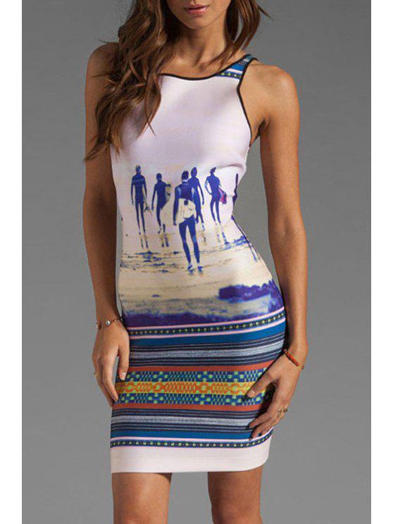 fancy Figure Stripe Print Backless Sleeveless Dress - PURPLISH BLUE M