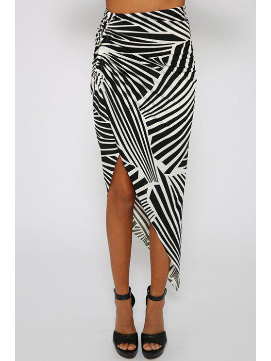 chic Print High Waisted Irregular Hem Skirt - WHITE AND BLACK S
