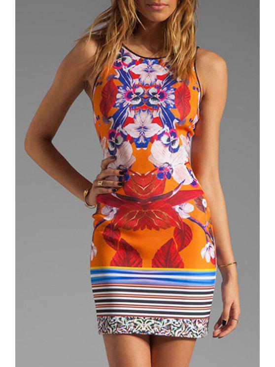 chic Jewel Neck Floral Print Stripe Dress - JACINTH L
