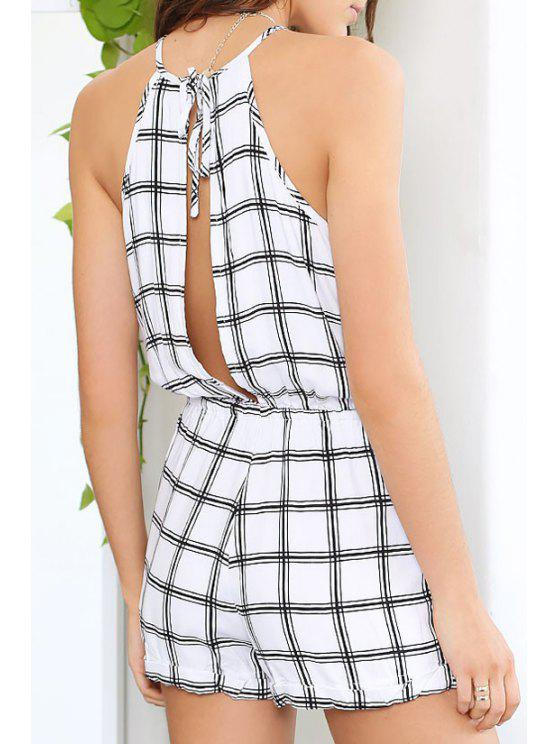 women Plaid Print Spaghetti Strap Playsuit - CHECKED S