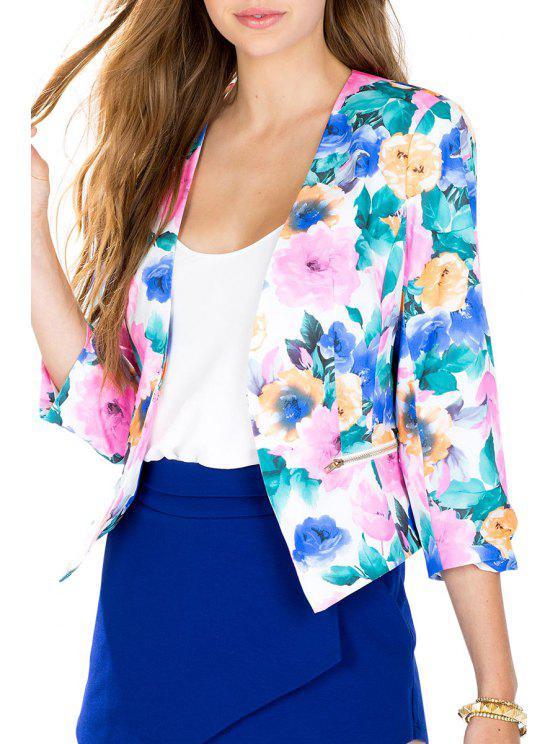 women's Floral Print 3/4 Sleeve Blazer - COLORMIX S