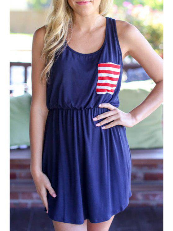 lady Stripes Spliced Scoop Neck Sundress - BLUE S
