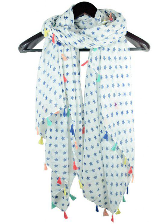 online Stars Printed Colorful Tassel Scarf - WHITE