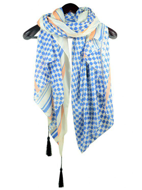 new Checked Printed Tassel Scarf - BLUE