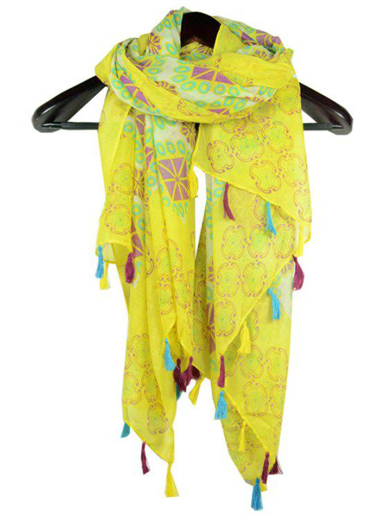 hot Tribal Rhombus Printed Tassel Scarf - YELLOW