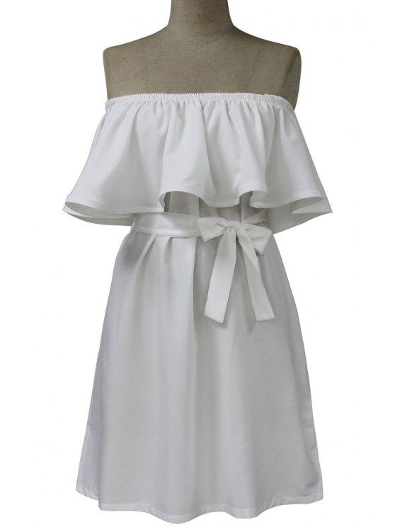 trendy Slash Neck Ruffles Spliced Dress - WHITE ONE SIZE(FIT SIZE XS TO M)