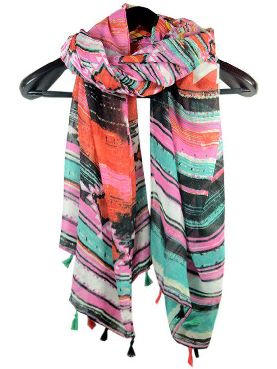 shop Colored Stripe Print Tassel Scarf - AS THE PICTURE