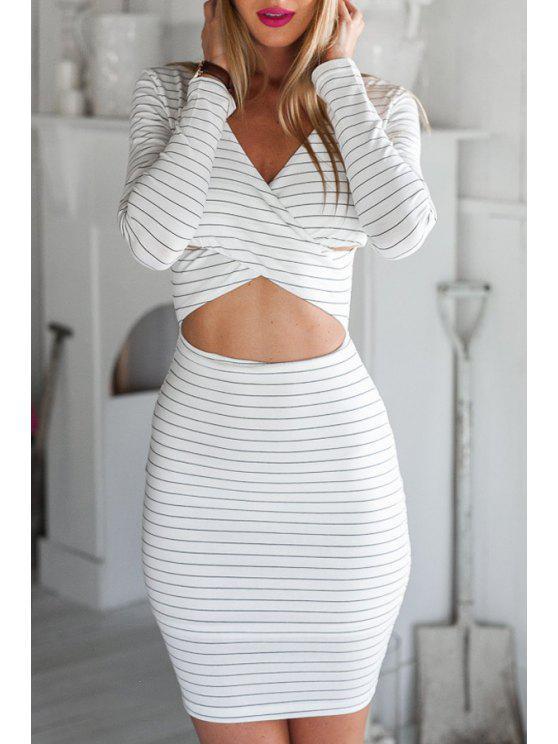 shop Striped Cut Out Bodycon Dress - WHITE S