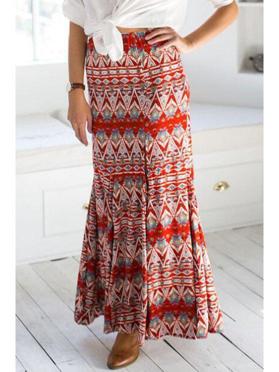 trendy Ethnic Pattern Side Slit Long Skirt - RED S