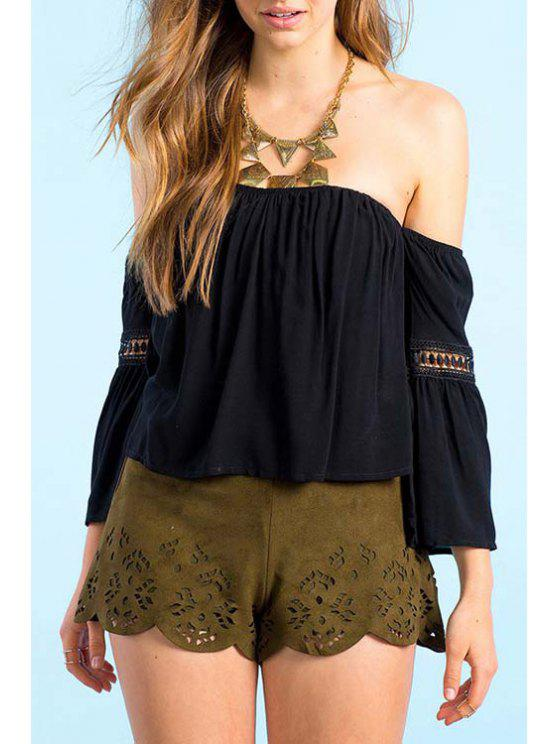 chic Strapless Lace Openwork 3/4 Sleeve T-Shirt - BLACK S