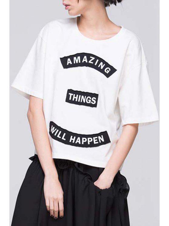 buy Letter Applique Half Sleeve T-Shirt - WHITE S
