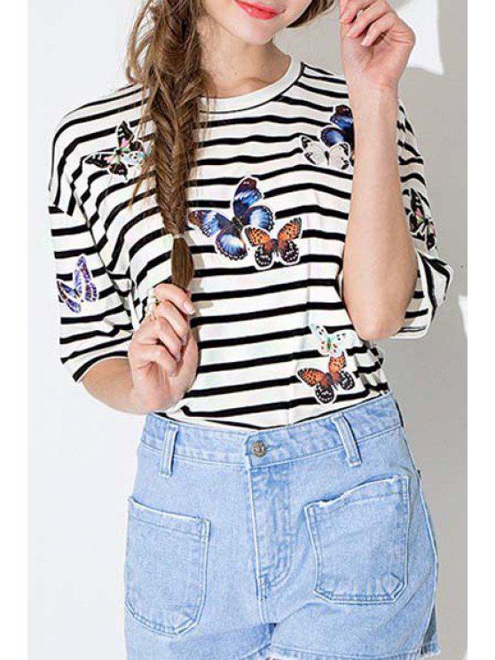 best Stripe Butterfly Pattern Short Sleeve T-Shirt - STRIPE S