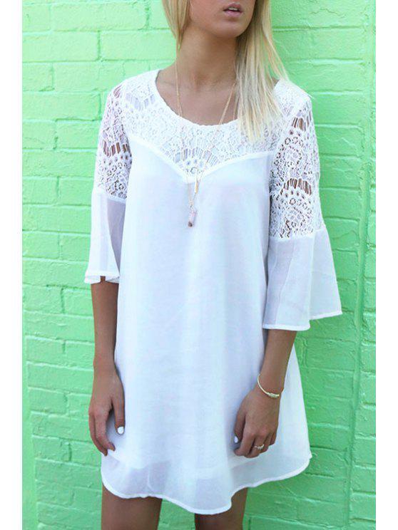 buy Lace Spliced 3/4 Sleeve Dress - WHITE S