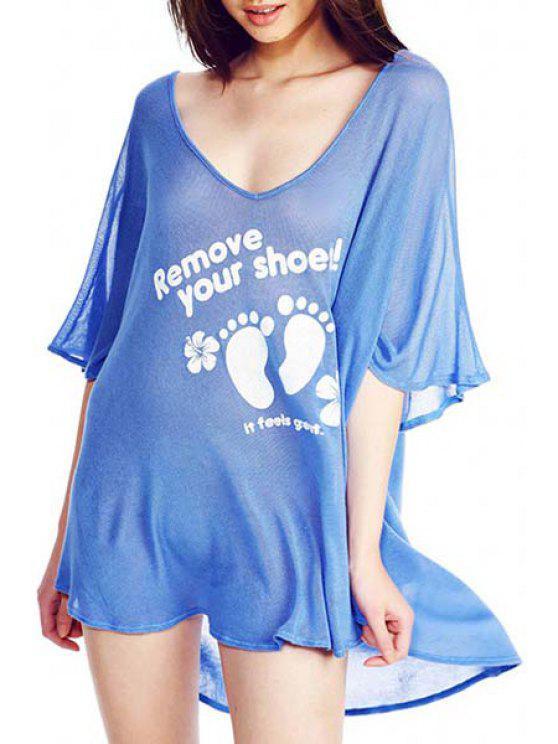 chic Letter Footprint Pattern Half Sleeve Dress - BLUE S