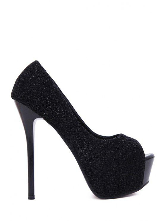 affordable Platform Bling Bling Peep Toe Shoes - BLACK 34