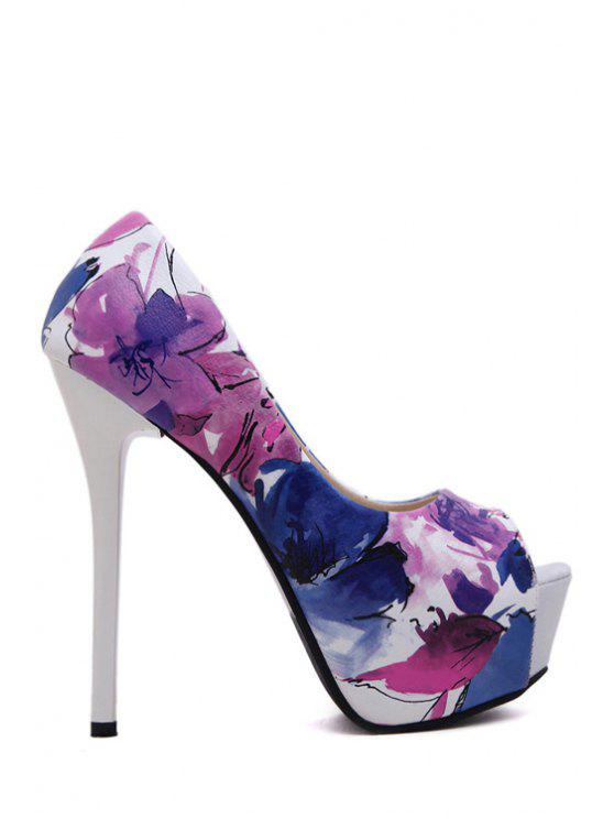 fancy Stiletto Heel Floral Print Peep Toe Shoes - BLUE 37