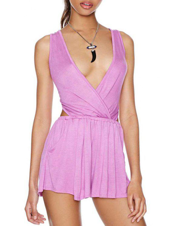 lady Plunging Neck Backless Cross Sleeveless Romper - PURPLE S
