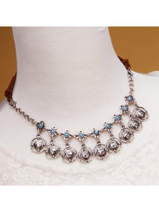fashion Vintage Hollow Out Flower Round Tassel Women's Necklace - BLUE