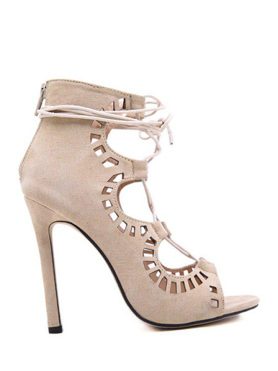 trendy Hollow Out Suede Stiletto Heel Sandals - APRICOT 35