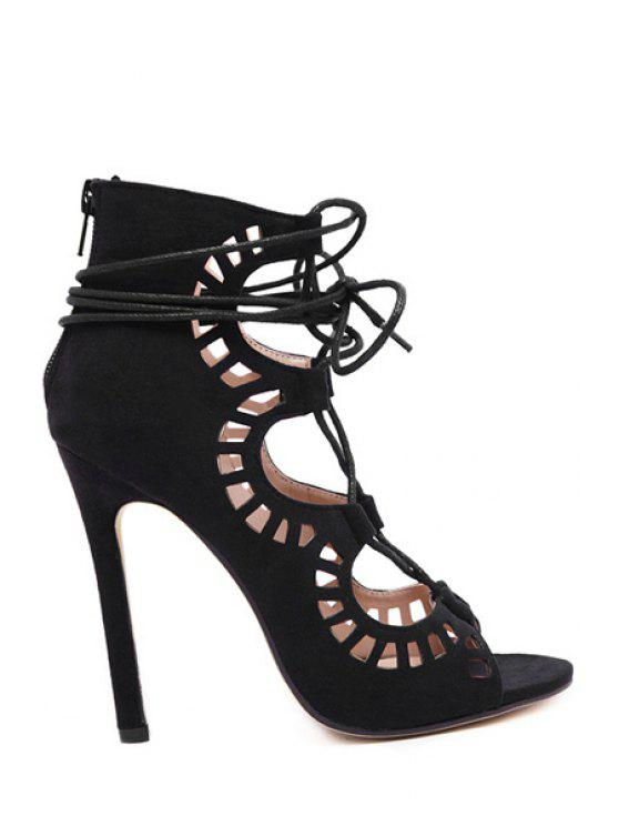 ladies Hollow Out Suede Stiletto Heel Sandals - BLACK 37