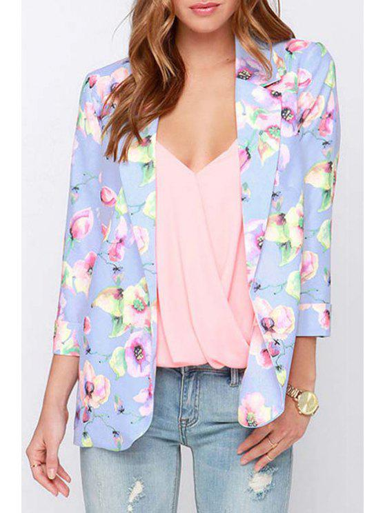 womens Lapel Floral Print 3/4 Sleeve Blazer - LIGHT PURPLE S