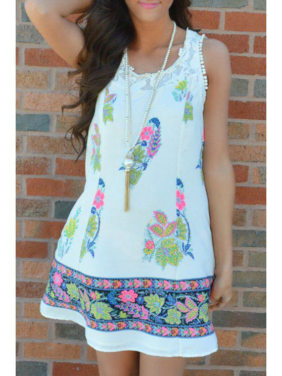 outfit Lace Spliced Leaf Print Dress - WHITE S