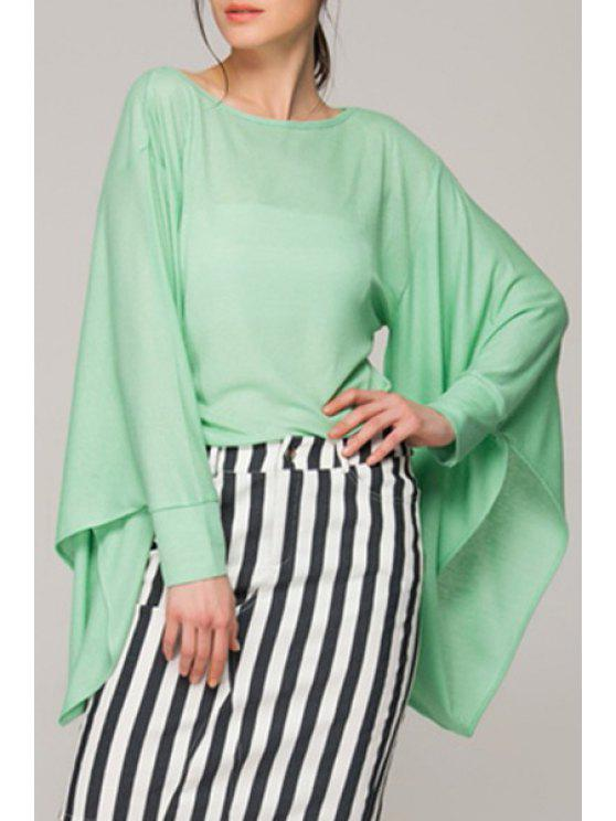womens Solid Color See-Through Bell Sleeve T-Shirt - GREEN XL