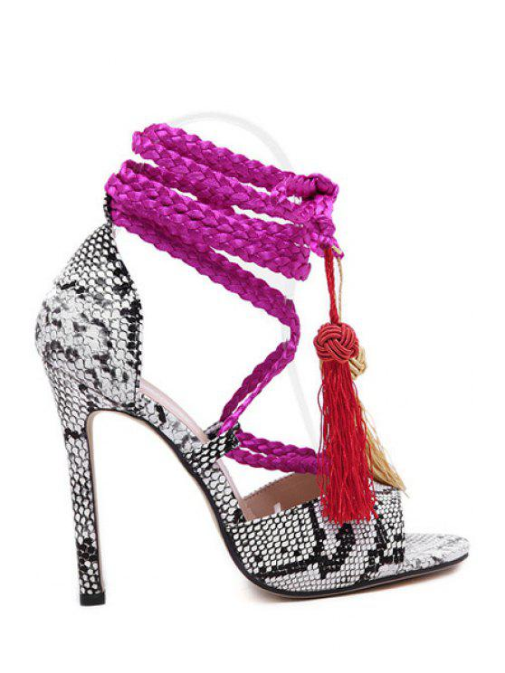 new Snake Print Tassels Weaving Sandals - WHITE 35
