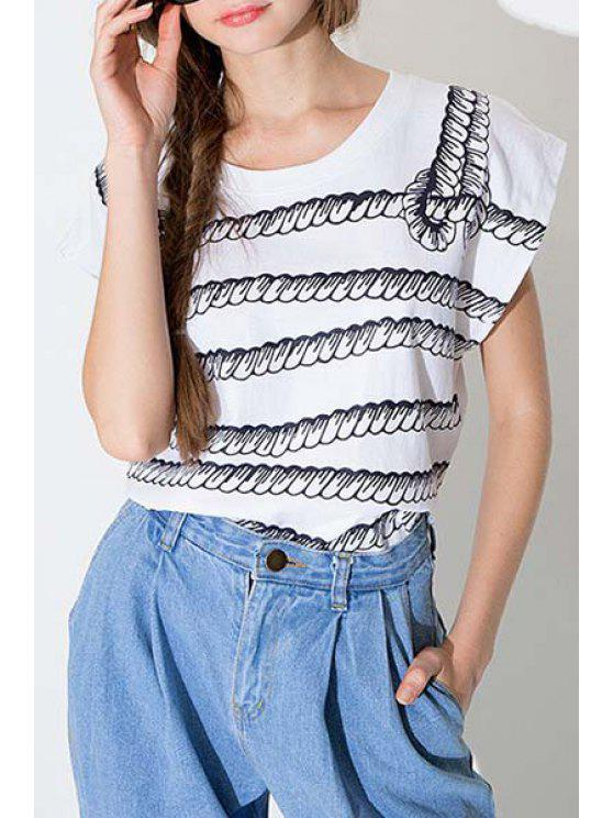 fancy Jewel Neck Rope Print Short Sleeve T-Shirt - WHITE S