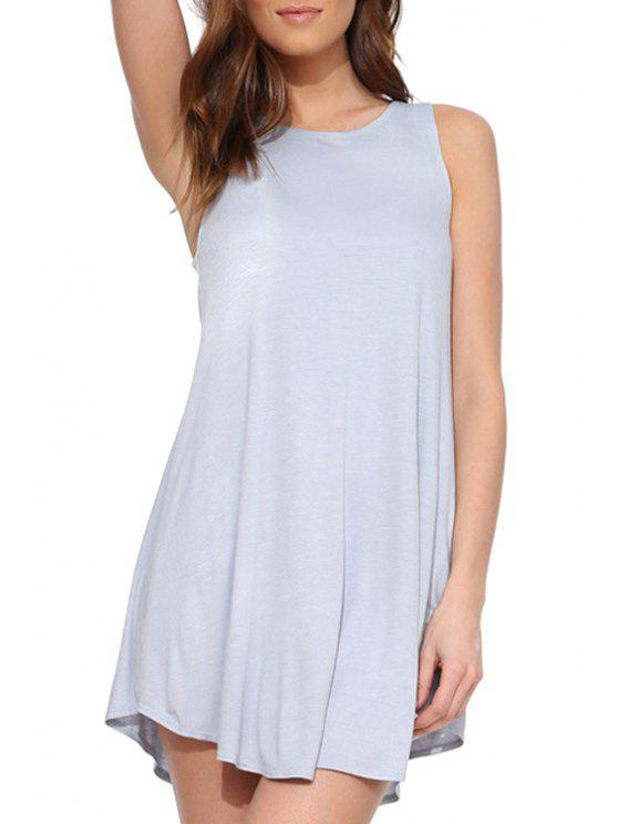 lady Solid Color Back Button Sleeveless Dress - BLUE GRAY S
