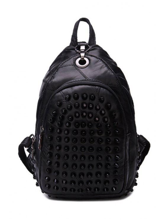 latest Rivets Black Zippers PU Leather Satchel - BLACK