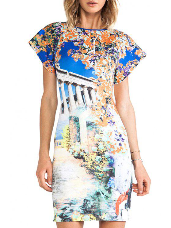 shops Scenery Print Short Sleeve Bodycon Dress - SAPPHIRE BLUE L