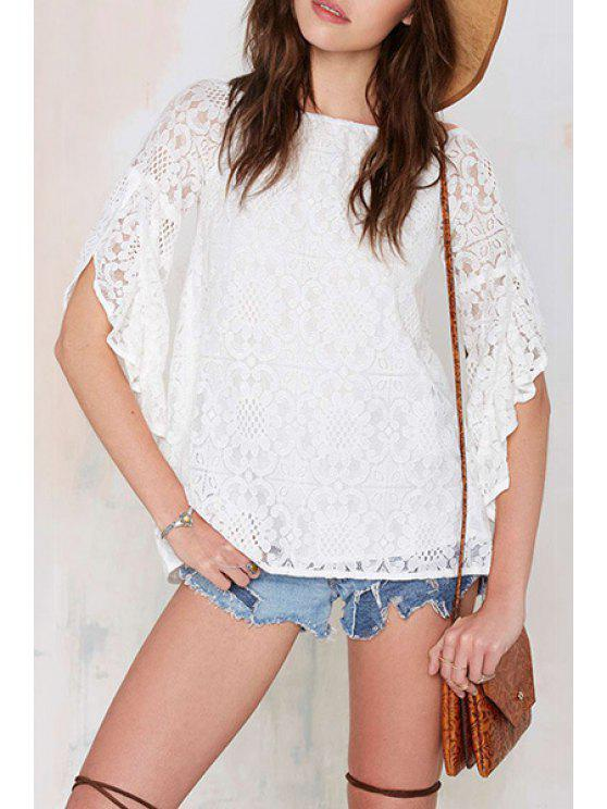 lady See-Through Floral Pattern Half Sleeve T-Shirt - WHITE S