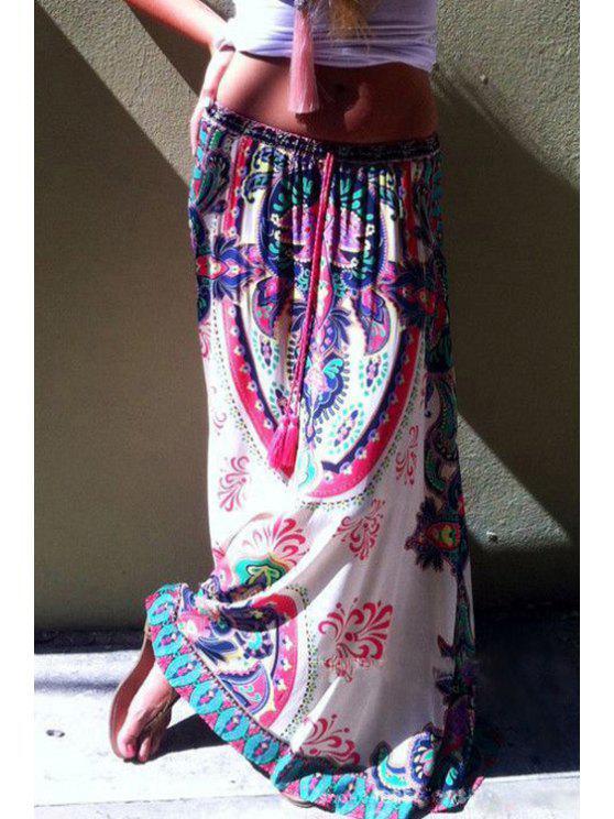 fancy Ethnic Pattern Colorful Drawstring Maxi Skirt - WHITE S