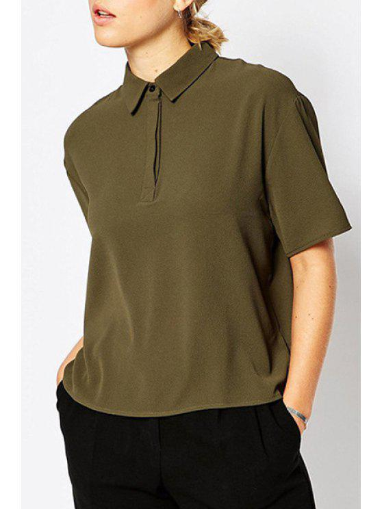 trendy Polo Collar Solid Color Short Sleeve T-Shirt - ARMY GREEN S