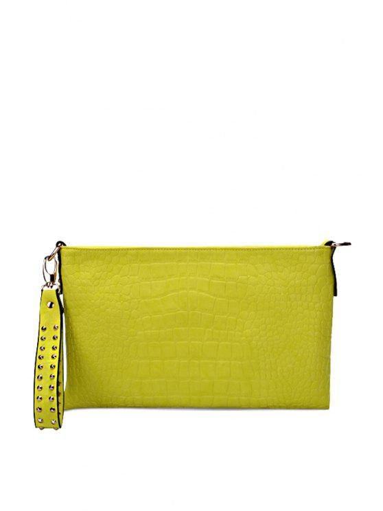 fashion Candy Color Stone Pattern Clutch Bag - LEMON YELLOW