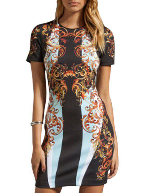 affordable Vintage Print Short Sleeve Bodycon Dress - BLACK M