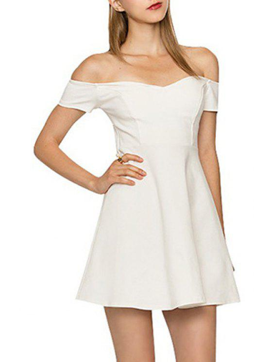 shops Slash Neck Backless Hollow Out Dress - WHITE S