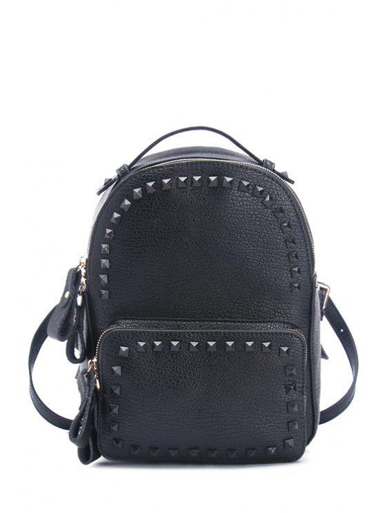 unique Rivets Solid Color PU Leather Satchel - BLACK