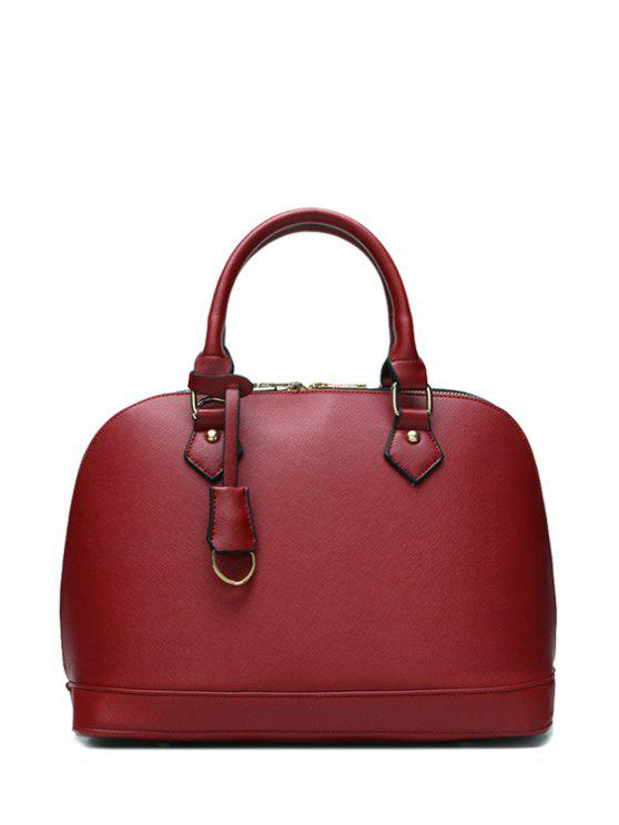 sale Pendant Solid Color Zipper Tote Bag - WINE RED