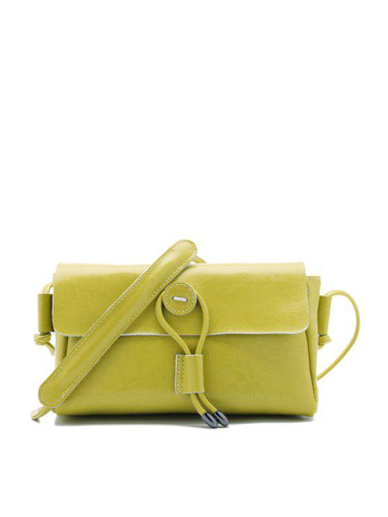 women String Candy Color PU Leather Crossbody Bag - LEMON YELLOW