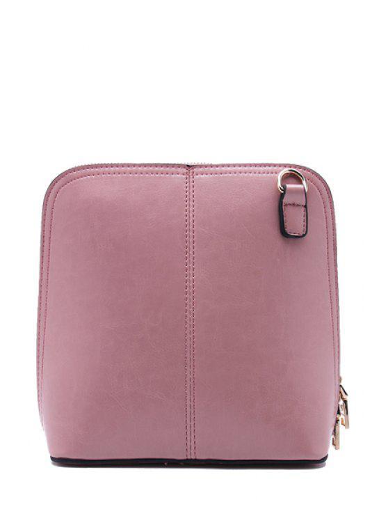 sale Zipper Solid Color Crossbody Bag - PINK