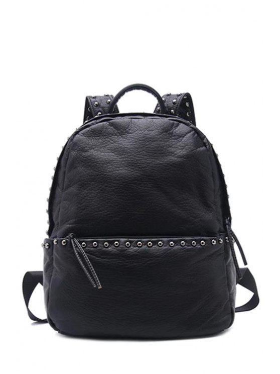 women's Rivets Black PU Leather Studs Satchel - BLACK