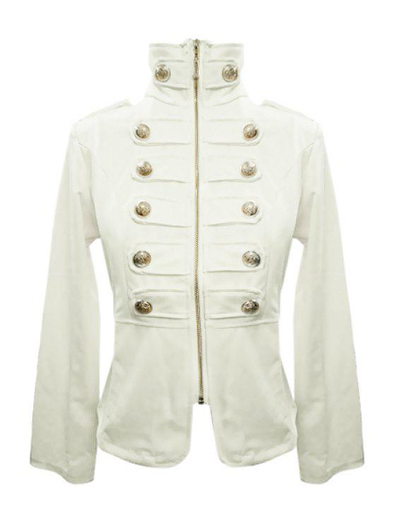 affordable Stand-Up Collar Solid Color Zipper Fly Coat - WHITE XL