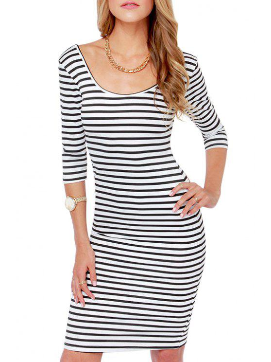 outfits Scoop Neck Strip Backless Half Sleeve Dress - WHITE AND BLACK S